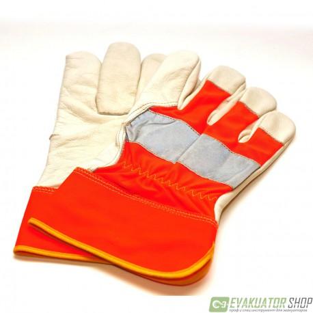 Перчатки оранжевые со световозвращающей полосой легкие