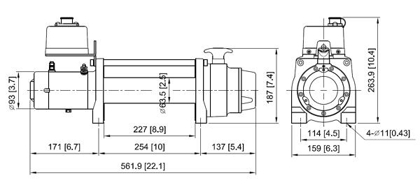 Габаритные размеры лебедки ComeUp DV-6L