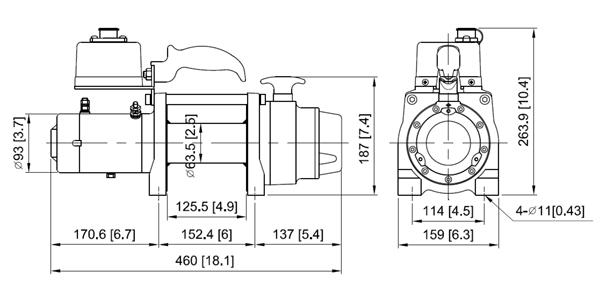 Габаритные размеры лебедки ComeUp DV-6S