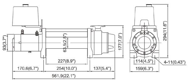 Габаритные размеры лебедки для прицепа-эвакуатора ComeUp DV-6000L