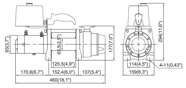 Габаритные размеры лебедки для прицепа-эвакуатора ComeUp DV-6000S